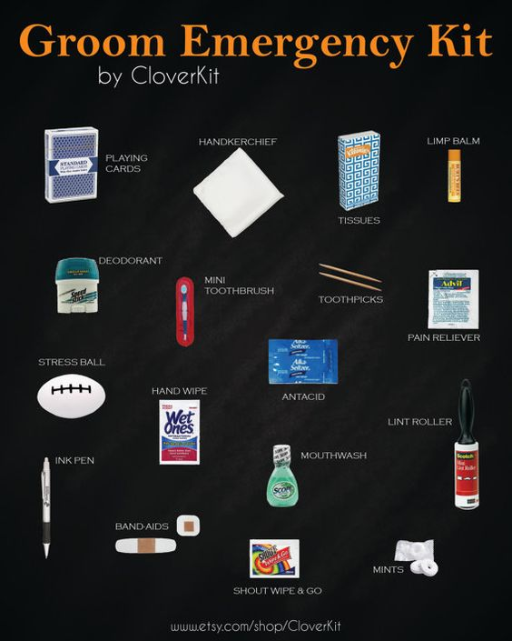 Groom Survival Kit Contains 21 Unique Items To Ensure Your Is His Best Self On Day 49 Makes A Great Gift By Cloverkit N Pinterest