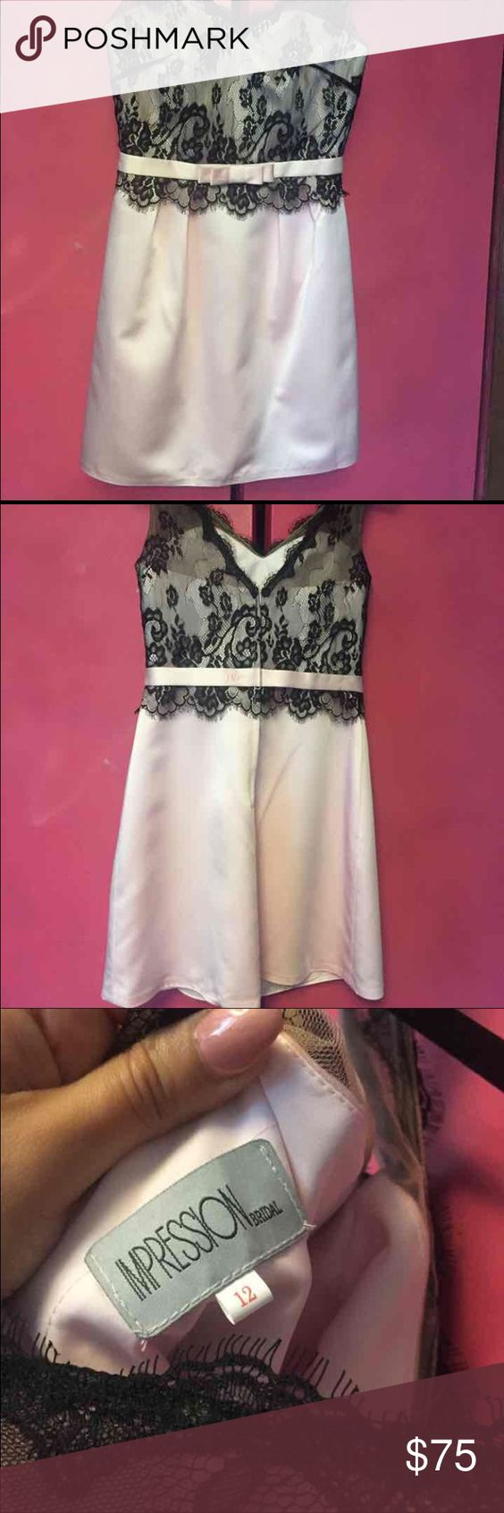 Nice Pink and Black lace dress! Lace black top with bottom pink Satin!! Never worn but doesn't have tags Dresses Mini