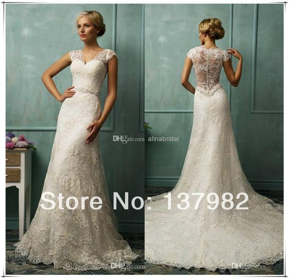 - 2014 Vintage Bit V Neck Short Capped Sleeve Sexy Sheer Back A Line Chapel Train Beaded Lace Wedding Dresses € 103,57