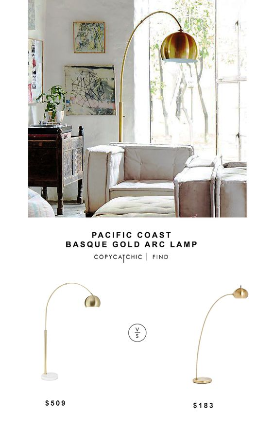 Pacific Coast Basque Gold Arch Lamp For 509 Vs West Elm Petite Arc Metal Floor Lamp For 183