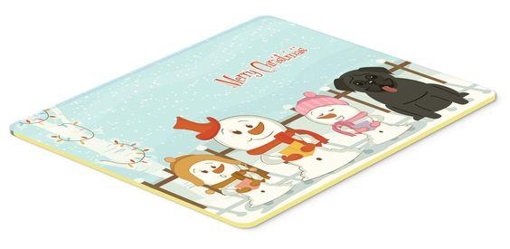 Merry Christmas Carolers Pug Black Kitchen or Bath Mat 20x30 BB2337CMT