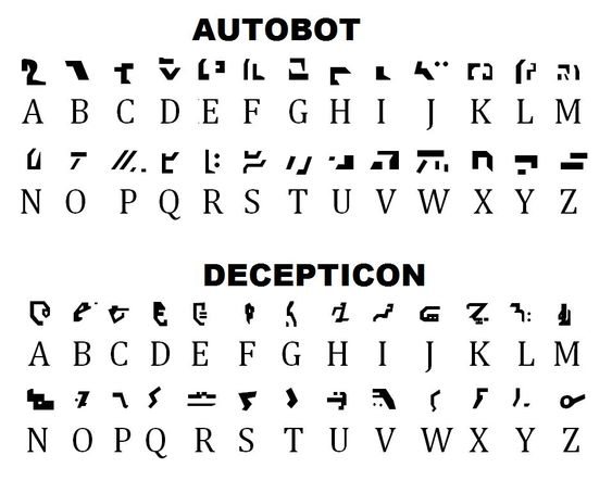 Autobot and Decepticon alphabets. Welp, looks like I know what I'm doing this weekend!