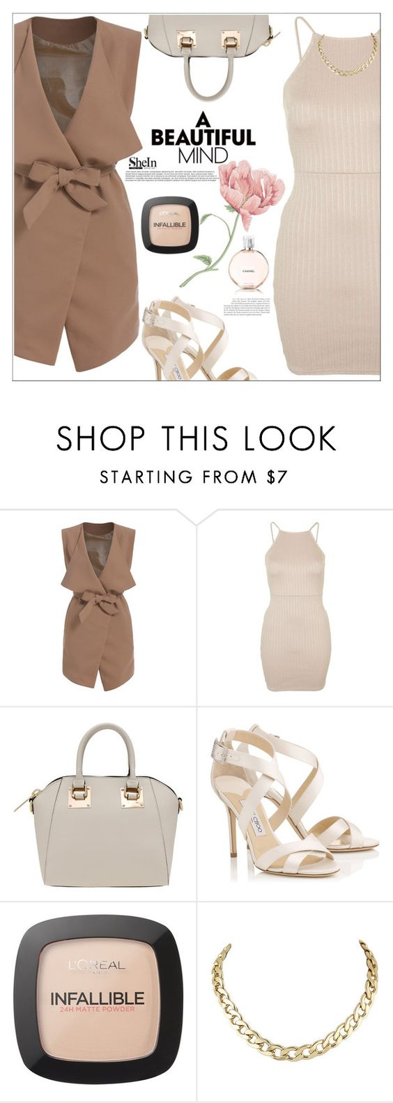 """""""A beautiful mind"""" by mycherryblossom ❤ liked on Polyvore featuring Topshop, Jimmy Choo, L'Oréal Paris and Chanel"""