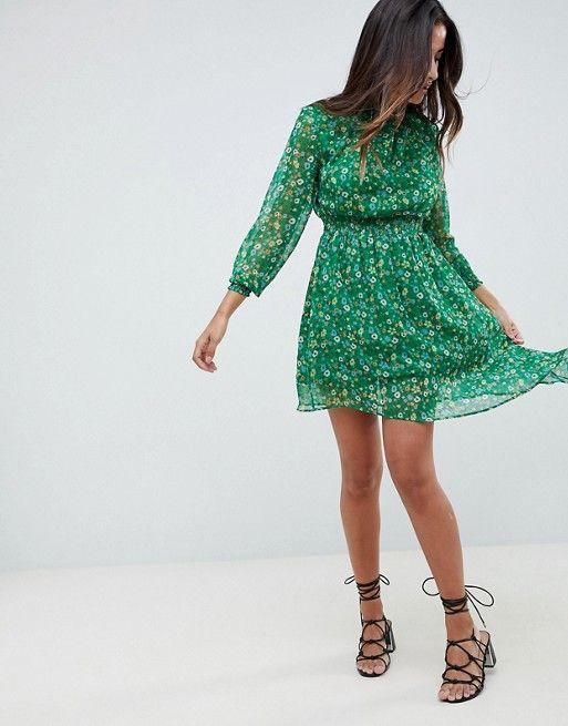 Boohoo | Boohoo Floral High Neck Prairie Dress