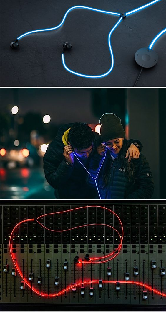 'Tron'-like Glow headphones ( http://www.engadget.com/2015/01/27/glow-headphones/ ) NOW!!!!!