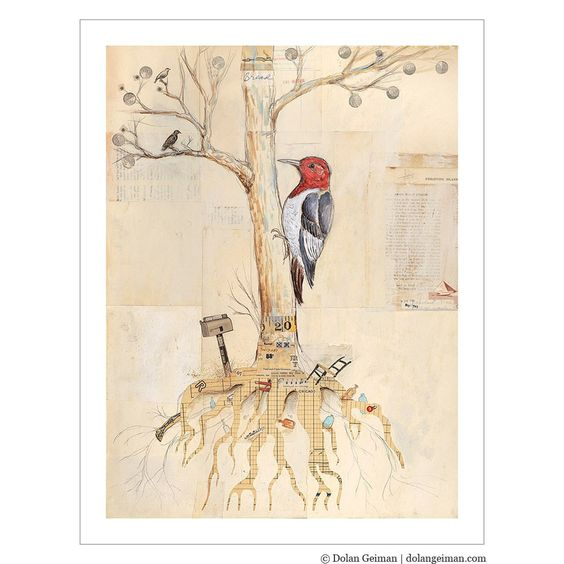 Bird Art Print on Paper, Woodpecker and the Tree of Bread, 9x12 Print. $55.00, via Etsy.