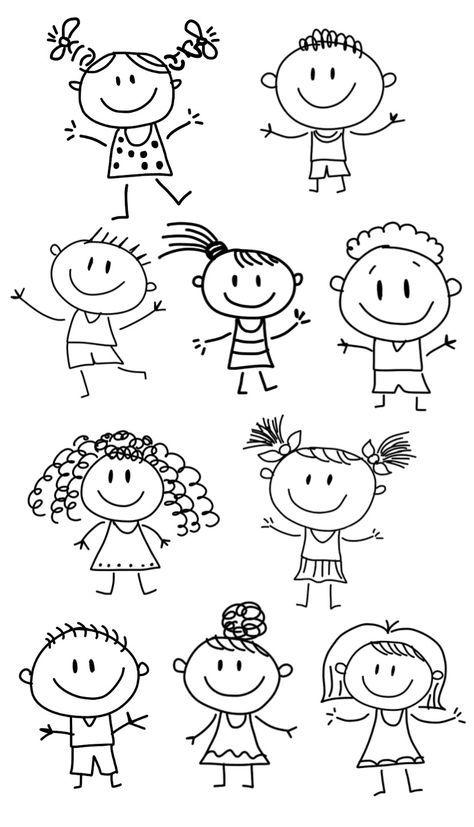 10 Pack Stick Figures Svg File Stick Boy Clipart Stick Girl Png Stick People Vectors Jpeg Stick People Children For Cricut Stick Figure Drawing Art Drawings For Kids Easy Doodle Art