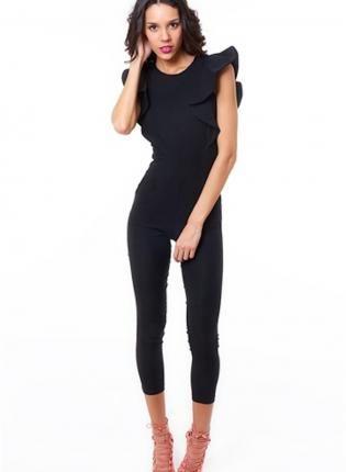 Black Ruffle Short Sleeve Jumpsuit w/ Capri Pants, Other, black ...