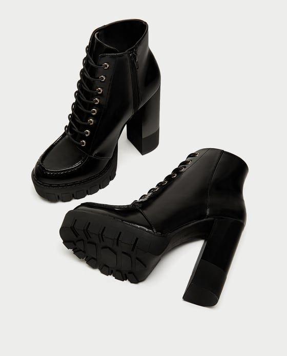 Zdjecie 3 Sznurowane Botki Na Obcasie I Traktorze Z Zara Boots High Heel Boots Ankle Lace Up High Heels