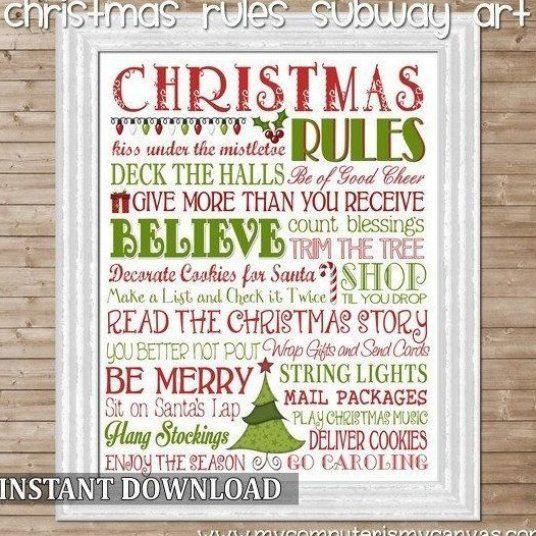 Christmas Rules Subway Art Holiday Rules Printable Instant Download In 2020 Christmas Subway Art Christmas Signs Diy Christmas Signs