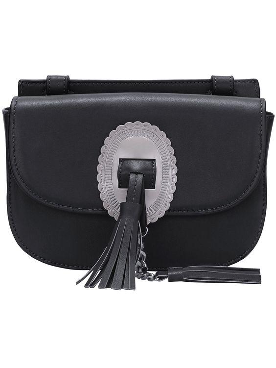 Bolso flecos satchel -negro 25.65: