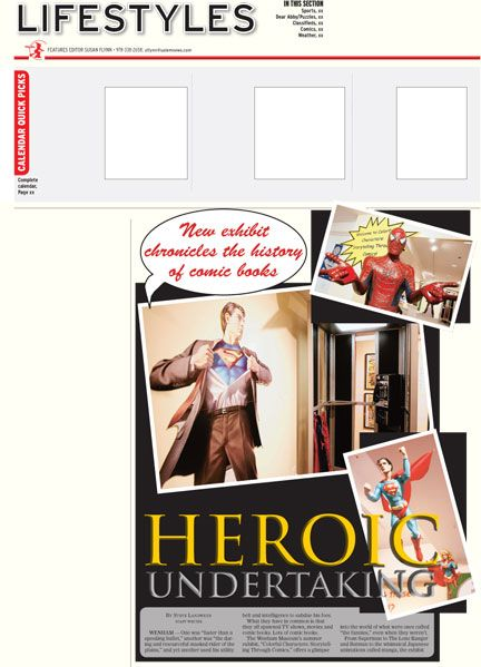 A newspaper features design I created to capture the feel of a comic book themed art exhibit.