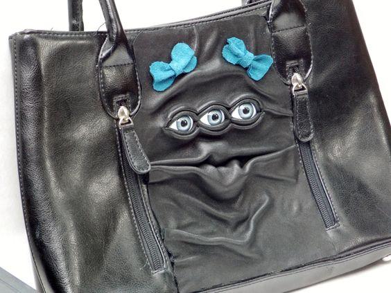 Leather Purse Black Handbag Pocketbook with Eyes by pippenwycks, $75.00
