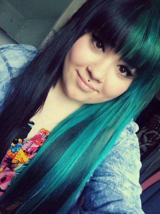 Black And Green Hair Split Down The Middle Haircolor