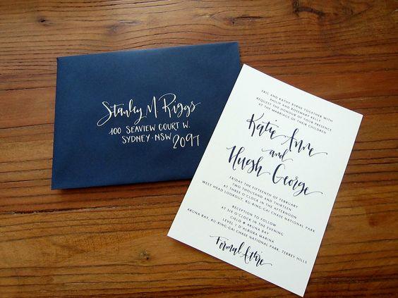 Modern Calligraphy Wedding Invitation Custom Design