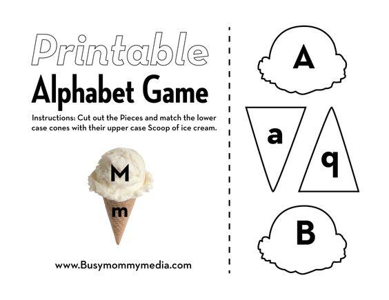 Free #Preschool #Printable: Ice-Cream Alphabet Matching Game Help ...
