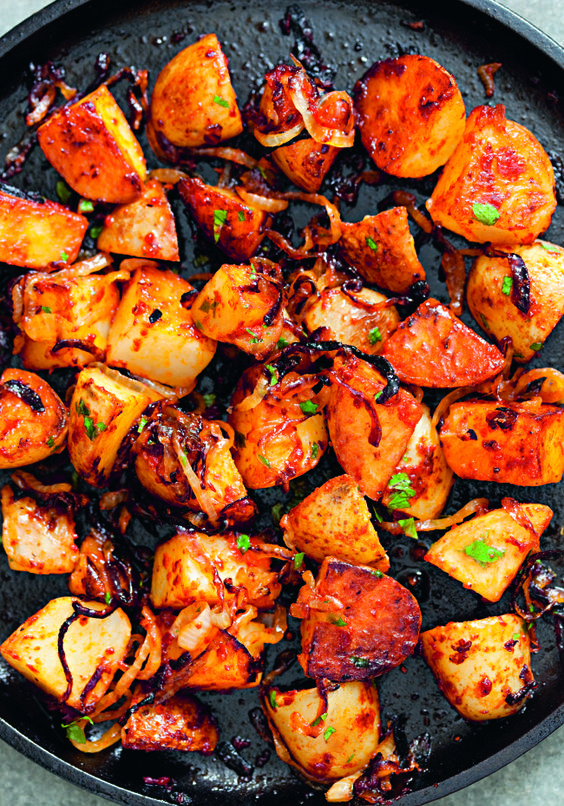 The recipe is from Rebecca Seal's new cookbook on Istanbul cuisine. She calls it Turkish potatoes, but I'm almost certain it's a Kurdish recipe. Either way, it's simple and really tasty. Just don't add the onions zu early or they will burn.