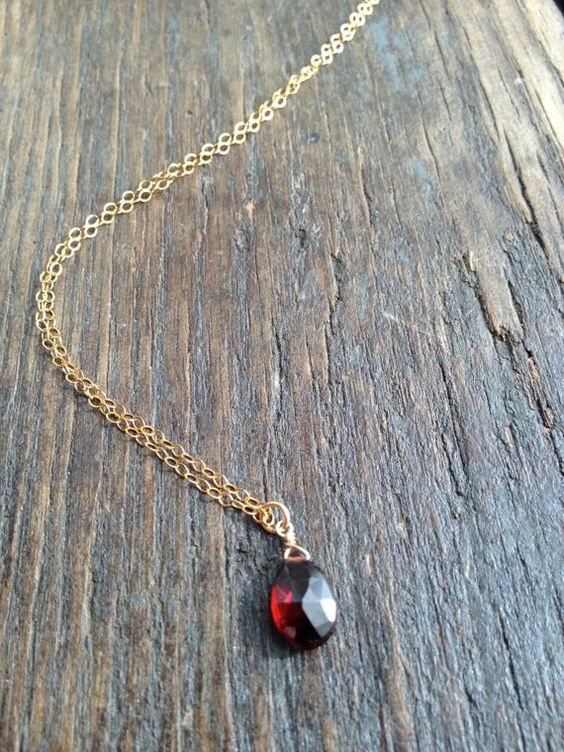 Garnet Drop, January Birthstone, Garnet Necklace, Birthstone Necklace, Garnet Briolette, Bridesmaid Jewelry, Bridesmaid Necklaces, Blood Red...