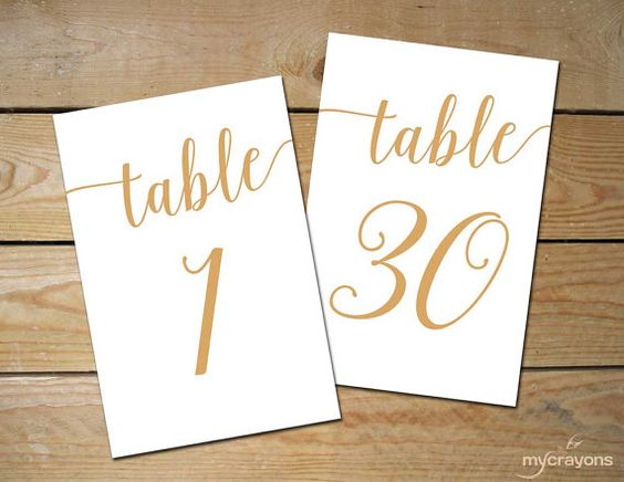 Bella Script Gold Printable Table Numbers 1-30 Add a romantic touch to your special day with these whimsical, printable table numbers. These