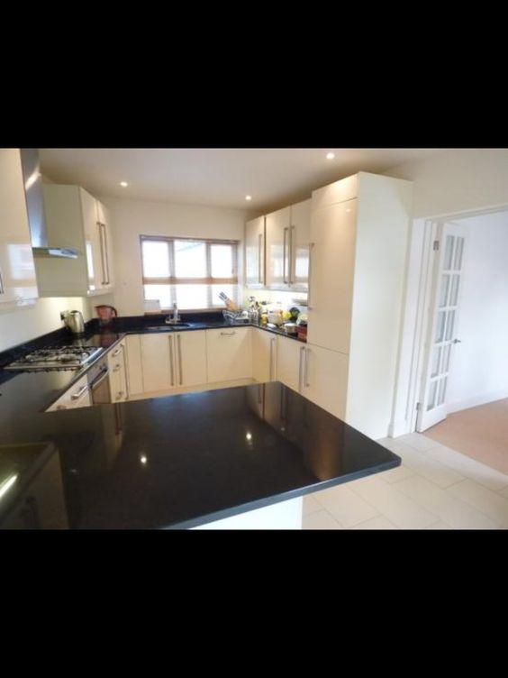 White kitchen cupboards and black worktop