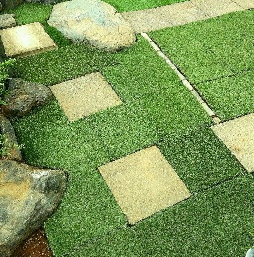 庭の雑草対策100均のリアル人工芝の カーブ部分のカット の仕方