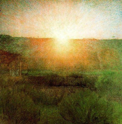 Giuseppe Pellizza da Volpedo(1868ー1907 an Italian neo-impressionist painter)「Il Sole(huile sur toile)」(1904)