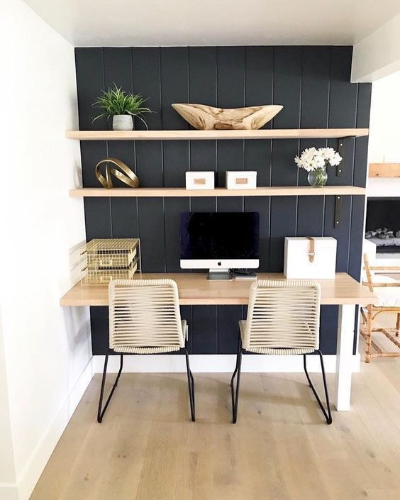 Bold Black Accent Wall Ideas Female Office Decor Home Office