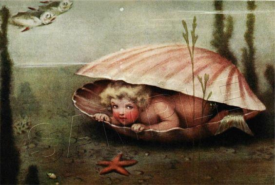 VINTAGE VICTORIAN MERMAID BABY SEA SHELL MERBABY CLAM *CANVAS* ART PRINT - LARGE #Vintage