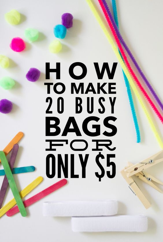 How To Make 20 Busy Bags For Only $5 - WOW!  Links to 20 different busy bags you can make with just 5 items from the dollar store.  A must pin for mom's of small children!
