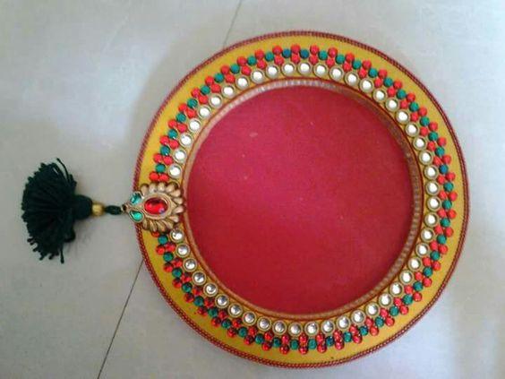 Wooden pooja thali mansi shah 39 art pinterest for Aarti thali decoration with kundan