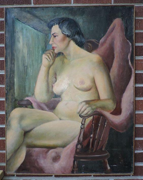 Vintage large MID-CENTURY Modern NUDE Mature WOMAN Oil Painting c1950s J.W. KING #Realism