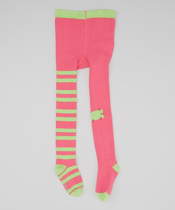 This Pink & Neon Green Tights - Toddler & Girls by Miss Grippy is perfect! #zulilyfinds