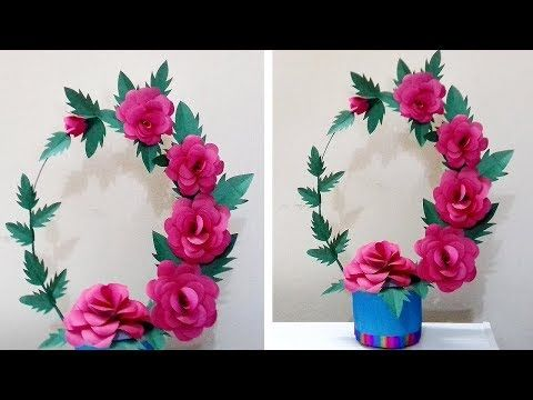 Amazing Diy Paper Flowers Craft How To Make Paper Rose Flowers Pot Easy Paper Vase Crafts Youtube Paper Roses Flower Crafts Paper Flowers