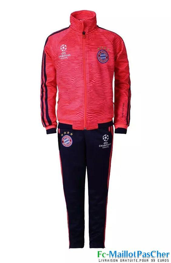 Champions League Nouveau Survetement foot Bayern Munich Enfant Rouge 15 2016 2017 pas chere