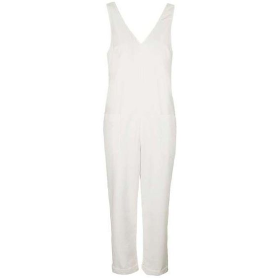TopShop Slouch Pocket Jumpsuit (3.695 RUB) ❤ liked on Polyvore featuring jumpsuits, topshop, white v neck jumpsuit, white jumpsuit, v neck jumpsuit and white jump suit