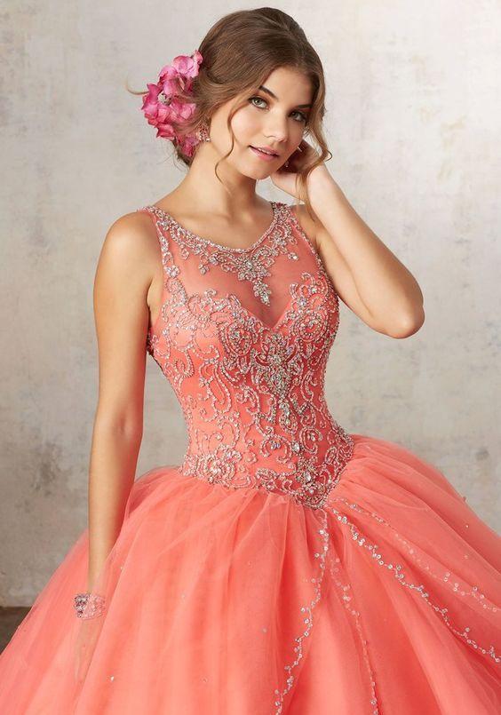 Vestidos Para Quinceañera Color Coral Modernos Y En