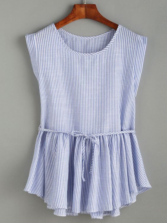 Blue Vertical Striped Self Tie Ruffle Hem Blouse