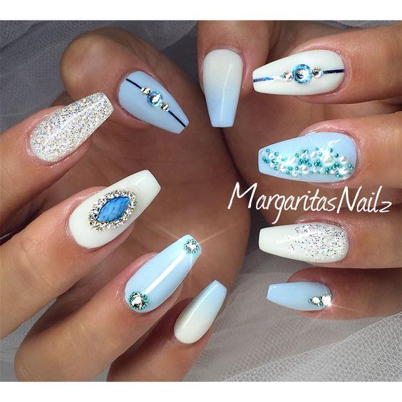 Cinderella Nail Art: Baby Blue Coffin Nails Ombré Nail Art