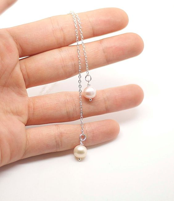 Sterling Silver necklace pearl necklace lariat by AiryLoft on Etsy, $28.00