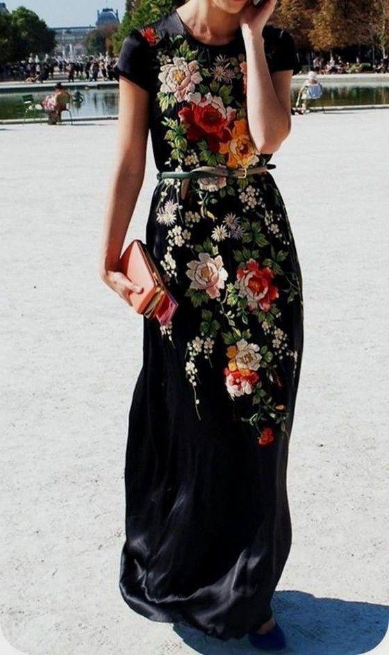 Black Floral Print Round Neck Short Sleeve Maxi Dress - Maxi Dresses - Dresses: