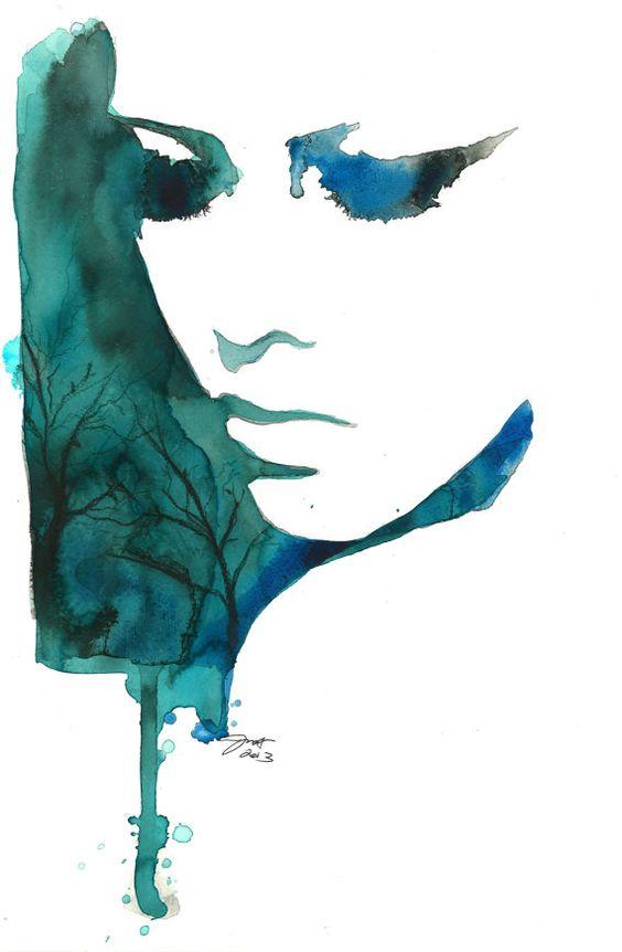 Sueños índigo, imprimir desde la ilustración original de moda acuarela y técnica mixta por Jessica Durrant