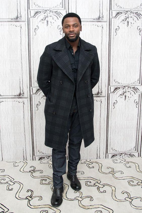Derek Luke denim and gray plaid coat
