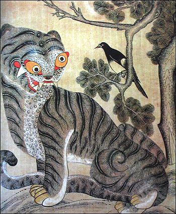 민화, 까치와 호랑이. Korean folk painting.