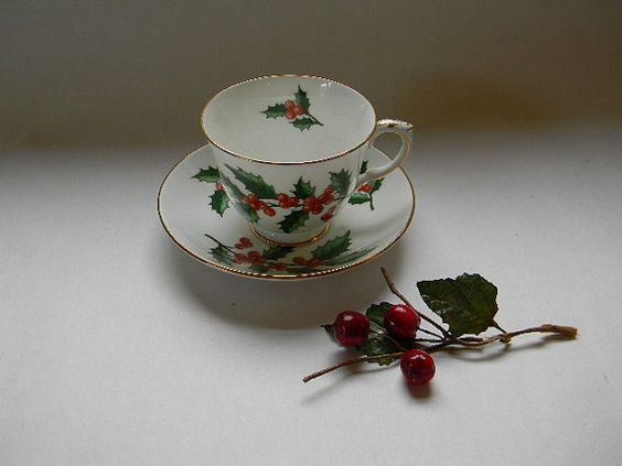 Crown Staffordshire Bone China Cup and Saucer 1940s by TreasuresFromMaine, $18.00