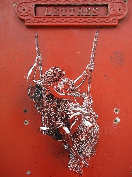 Couple on a swing: C215 Christian, Street Artists, Urban Art, Graffiti Streetart Stencil Art, Art Street