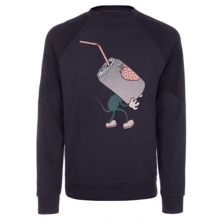 Paul Smith Men's Sweatshirts - Navy Mouse Print Loopback-Cotton Sweatshirt