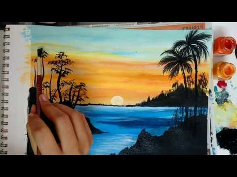 11 How To Paint A Beautiful Scenery Painting Sunrise Acrylic Landscape Painting Beautiful Scenery Paintings Sunrise Painting Landscape Paintings Acrylic