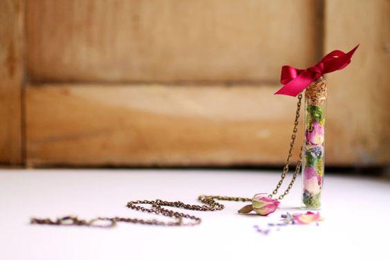 Real flower vial necklace, Botanical specimen, real plant vial pendant, pink rose, curiosity, terrarium necklace, bottle, romantic necklace via Etsy