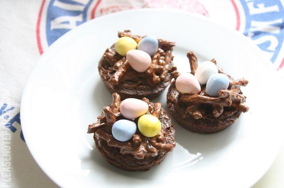 Pretzel Brownie Easter Nests