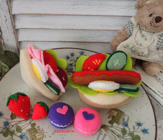 Felt Food, Felt Sandwich, Felt Hot Dog, Felt Hotdog, Felt Vegetables Macaroons Strawberries, pretend play food toy kitchen, montessori toys
